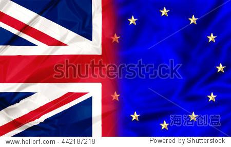 英国国旗和欧盟旗帜.金融债券和联盟的概念