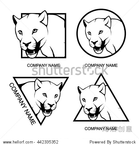 set of panther logo - 动物/野生生物,商业/金融