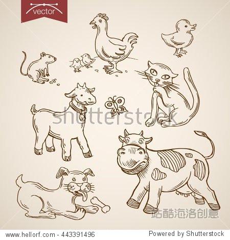 国内农场宠物动物园友好有趣的动物图标集.雕刻笔铅笔