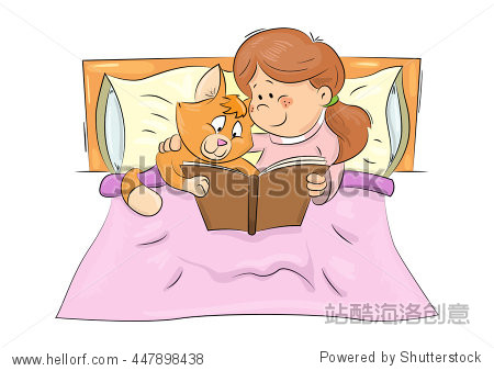 ��in9l$yi��d#9.�_cute cartoon scene: girl and cat in the bed reading book