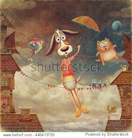 可爱的动物:狗与伞,鱼和猫的天空