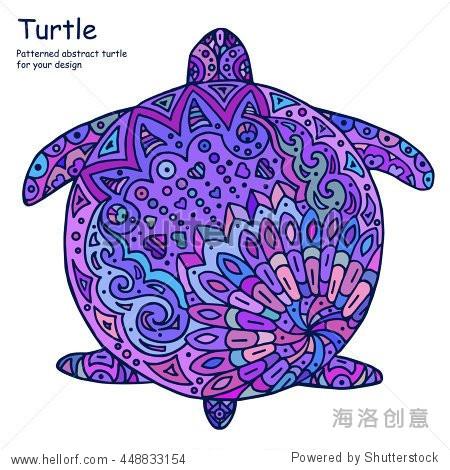 乌龟团花剪纸图案画法步骤