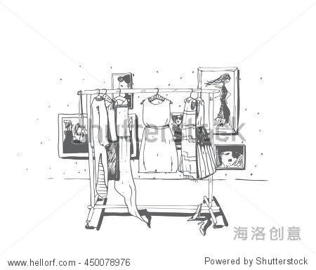 黑色和白色时尚与手绘插图与服装衣架.内部框架,鞋子.