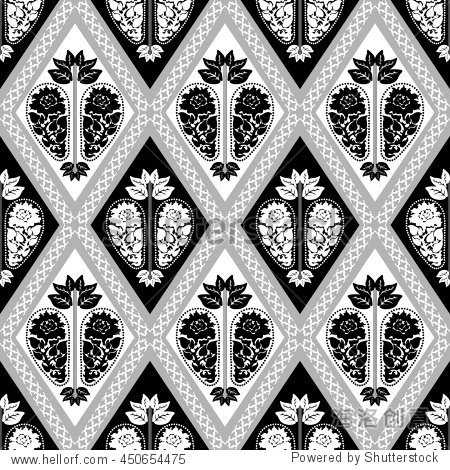 无缝大马士革图案,巴洛克花纹图案.艺术装饰壁纸收藏.