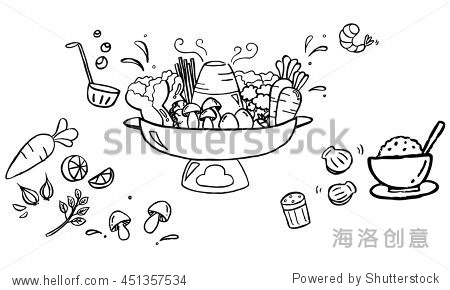 Sukiyaki hot pot with vegetables and rice