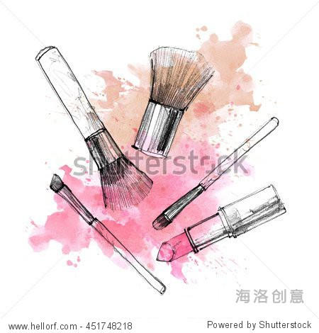Makeup brush with smear on white background. Watercolor, pencil drawn cosmetics fashion illustration. Vintage invitation card design, postcard, banner template.
