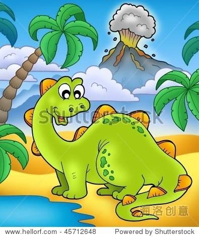 可爱的恐龙与火山-彩色插图.