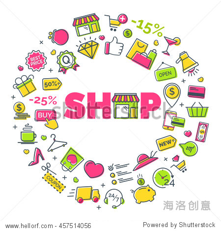 shopping concept with modern thin line icons on white background