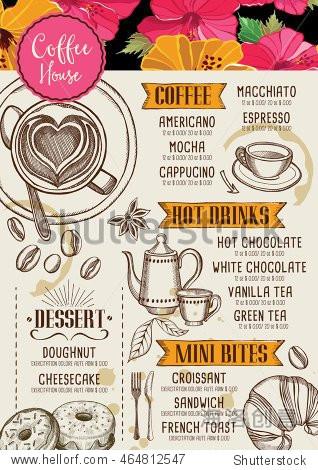coffee restaurant brochure vector, coffee shop menu design.