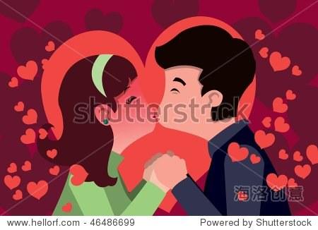 一个图像的一个小男孩和小女孩牵手和亲吻
