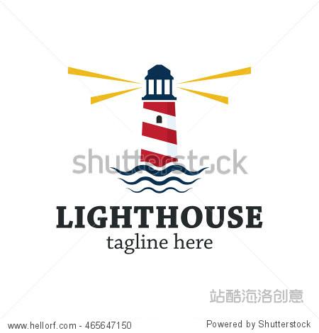 lighthouse logo design template图片