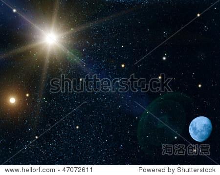 天空太阳星星月亮图片