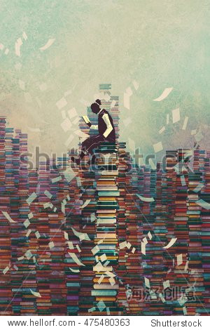 man reading book while sitting on pile of books knowledge concept illustration painting