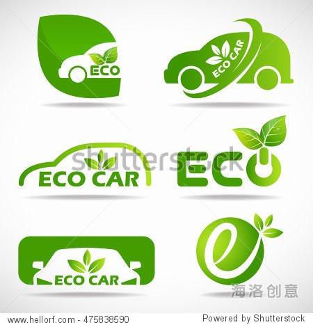 eco car logo - green leaf and car sign vector set design图片