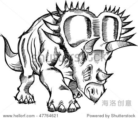 三角龙恐龙素描涂鸦向量