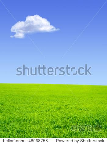 美丽的夏天的风景.绿色,蓝色的天空