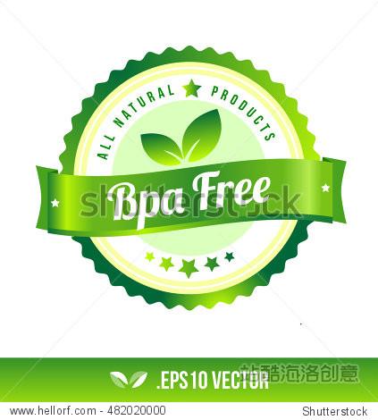 bpa free badge label seal stamp logo text design green leaf图片