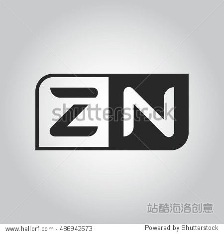 logo letter zn with two different sides. negative