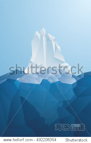chopped blue ice in ocean. vector illustration