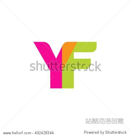uppercase yf logo, pink green overlap transparent图片