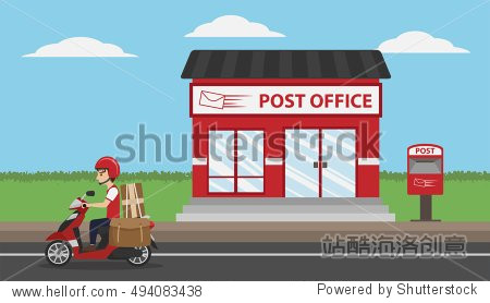 Post Office Service with Postman riding scooter for delivery, cartoon图片