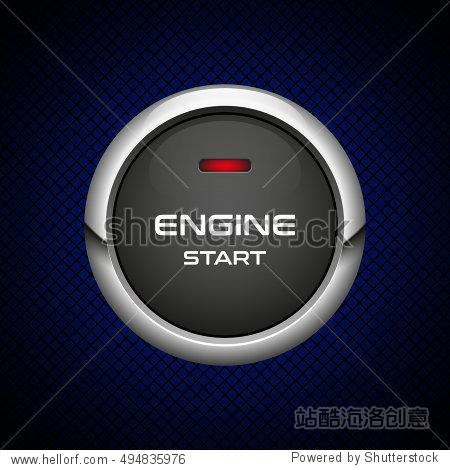 wewillstart_realistic engine start button on dark background