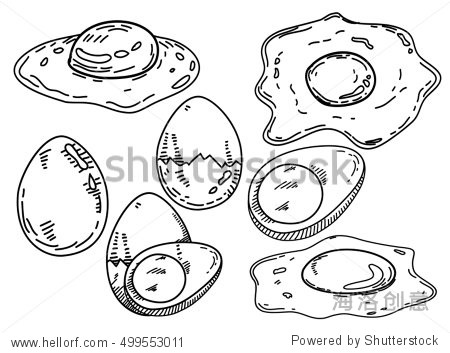 set of eggs.fried egg design with hand sketch