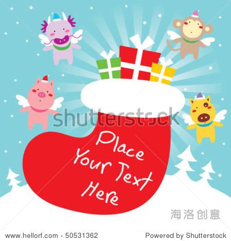可爱的动物天使圣诞祝福-动物/野生生物