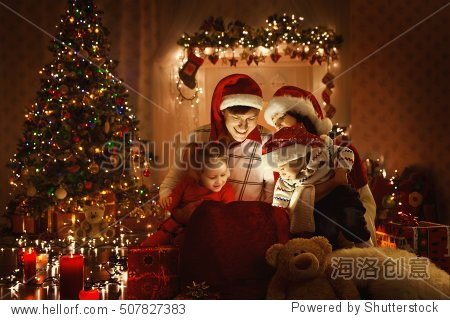 Christmas Family Open Present Gift Bag  Looking to Magic Light in Night Xmas Tree Interior