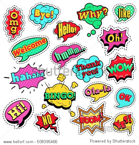 fashion badges patches stickers in pop art comic