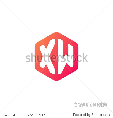 initial letters xw rounded hexagon shape red orange simple