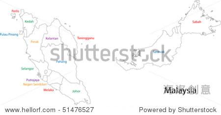 马来西亚地图轮廓