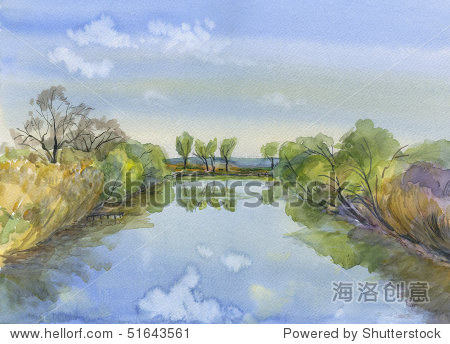 春天.水彩画从大自然.