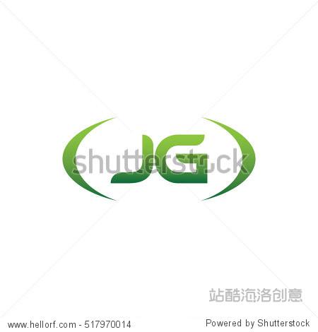 jg brackets uppercase logo green vector element template design图片
