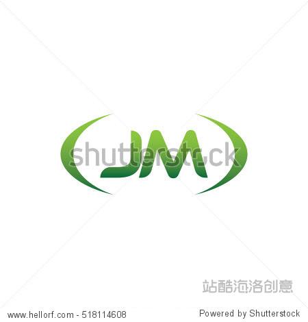 jm brackets uppercase logo green vector element template design图片