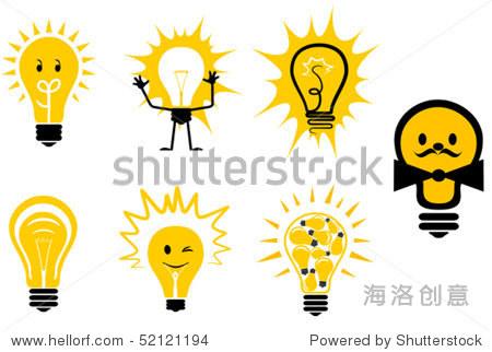 组灯泡符号或标志设计模板.jpeg版本也可以