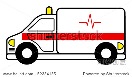 卡通矢量插图救护车