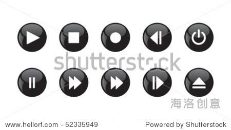 媒体播放器图标——黑色的圆形按钮.