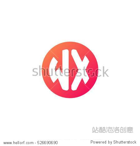 initial letters wx circle shape red orange simple logo