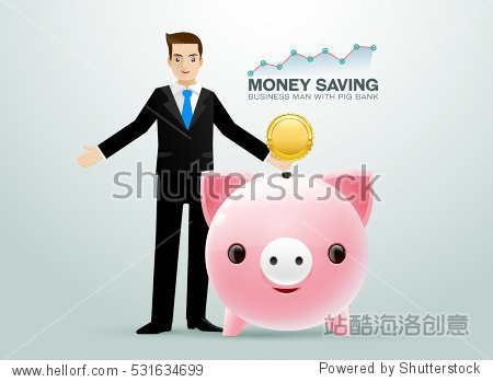 bussiness man with pig bank coin saving money and