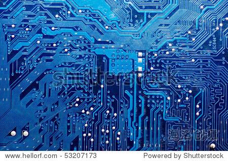 关闭计算机电路板的蓝色