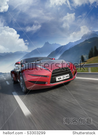 car moving on the road. my own car design.图片