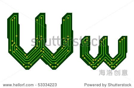 高科技电路板字母表.字母w