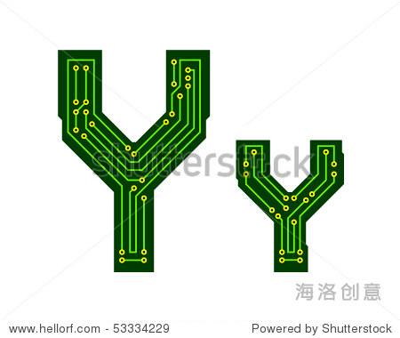 高科技电路板字母表.字母y - 插图/剪贴图,符号/标志