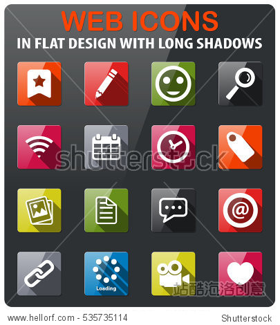 social media icons set in flat design with long shadow图片