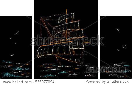 sailing sunglasses  sailing ship. triptych