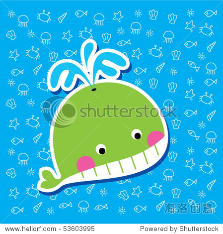可爱的鲸鱼书签-动物/野生生物,插图/剪贴图-海洛创意