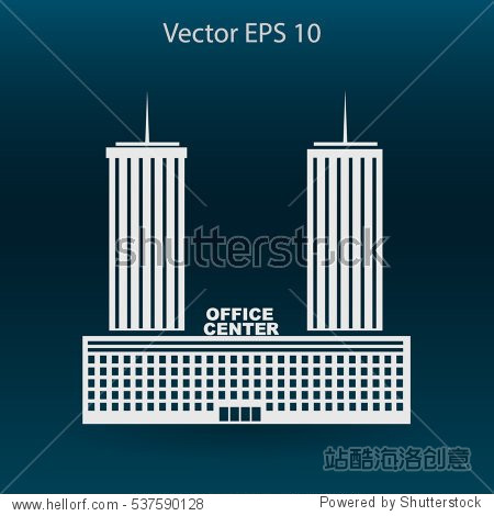 office center vector icon - 建筑物/地标,背景/素材