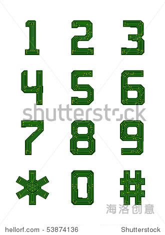 高科技电路板字母表.数字 - 插图/剪贴图,符号/标志