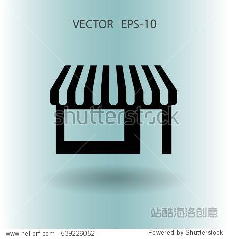 flat store icon, vector illustration - 建筑物